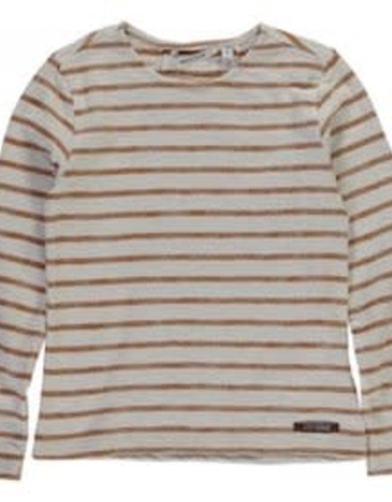 Top Striped Cotton Jersey Whisper White/Bronze mt 140