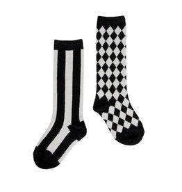 CarlijnQ Knee Socks Misfits Black/Off White mt 3-4 jr