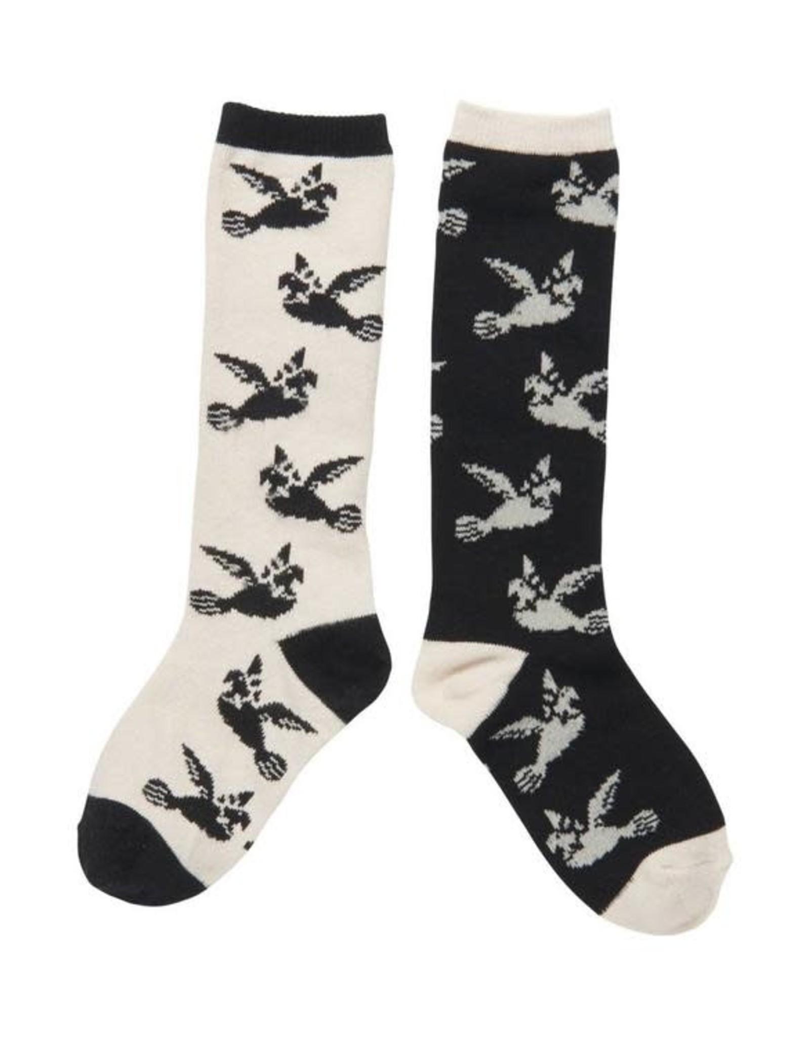 CarlijnQ Knee Socks Love Birds Black/Off White mt 6-12 mnd