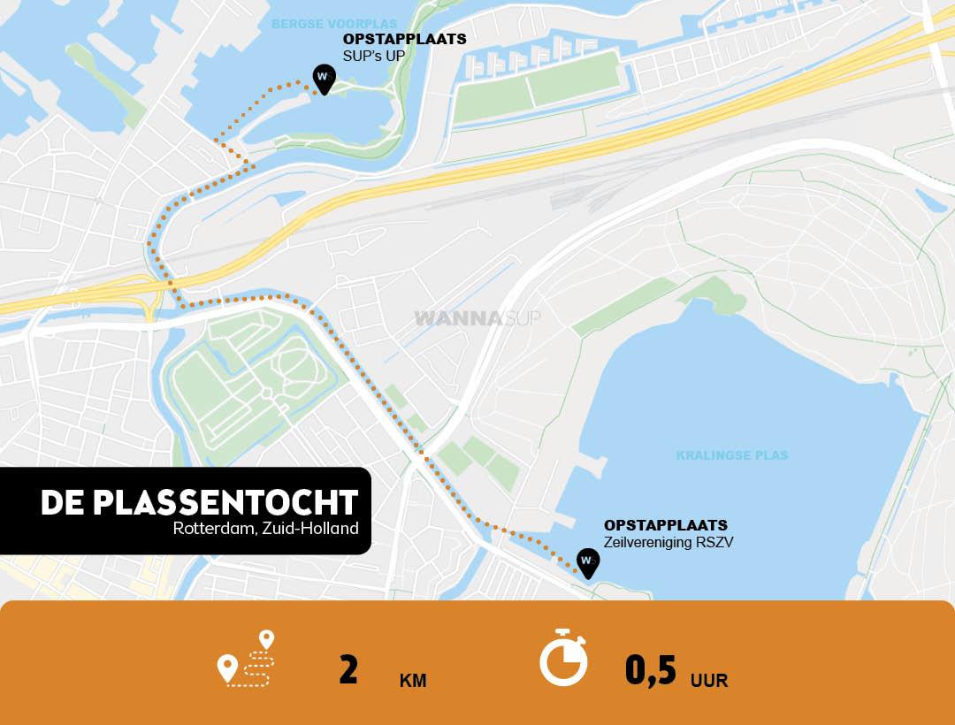 sup route en opstapplaats Kralingse Plas en Bergse Voorplas, Rotterdam - Zuid-Holland - WANNAsup