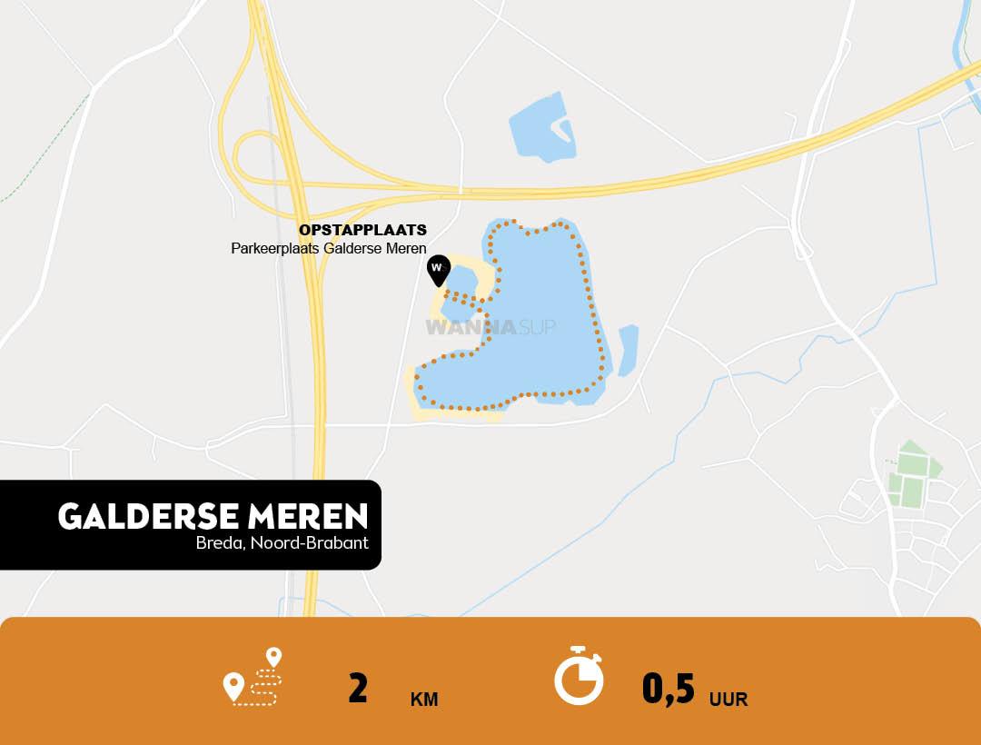 sup route en opstapplaats Galderse meren, Breda - Noord-Brabant - WANNAsup