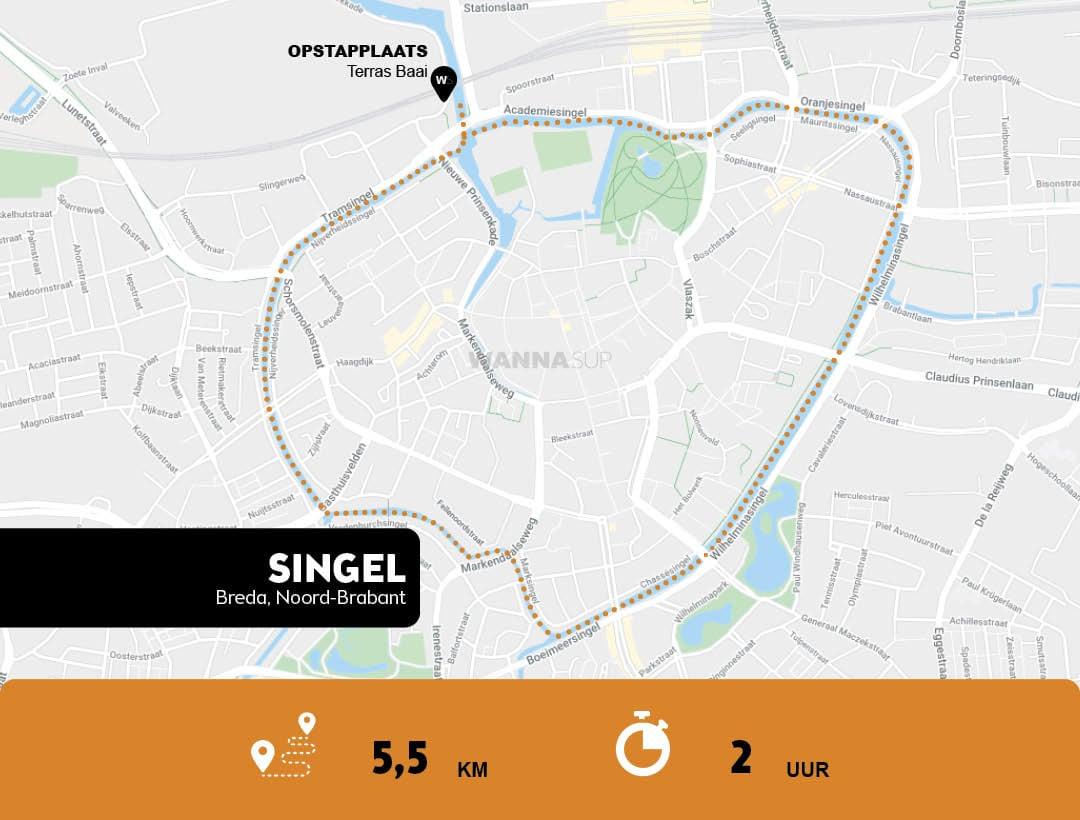 Sup route Singel Breda, Noord-Brabant - WANNAsup