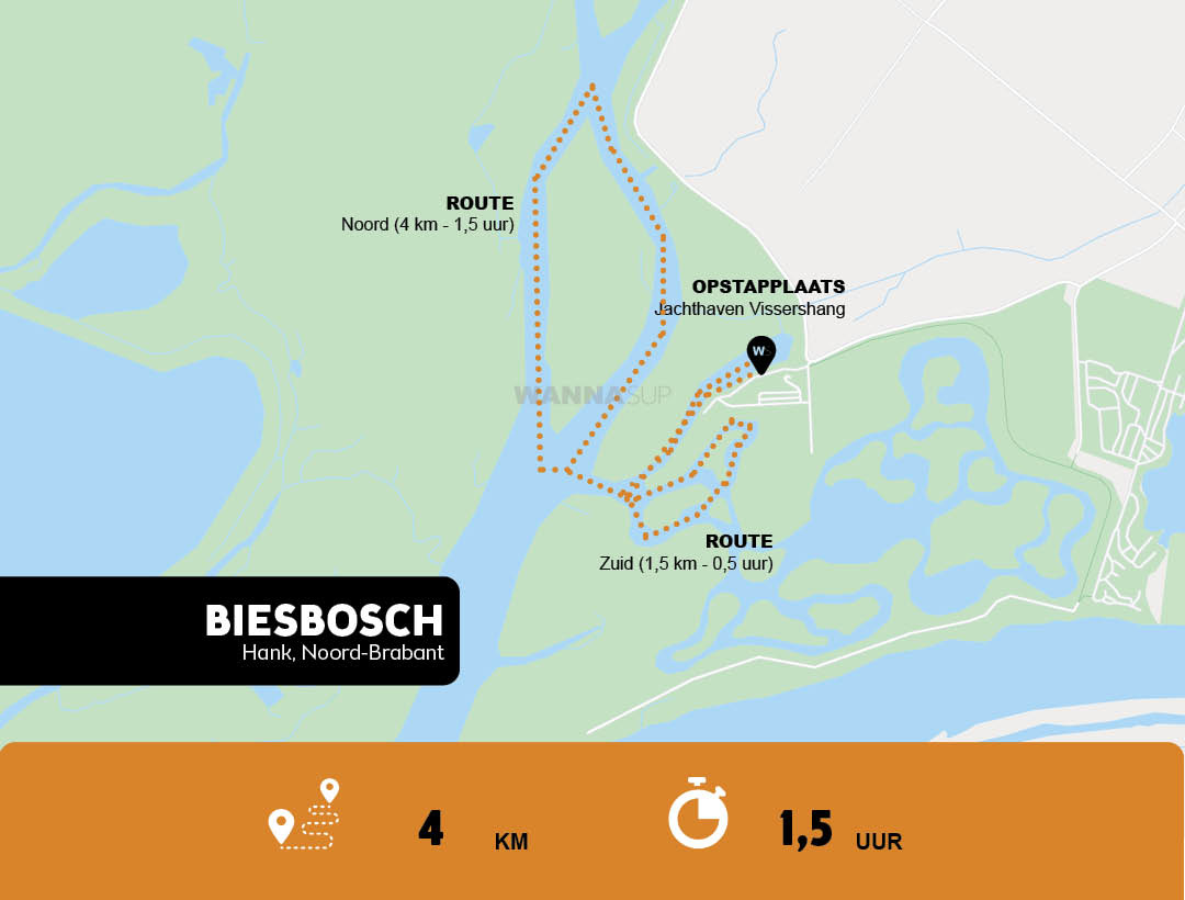 Sup route Biesbosch, Hank - Noord-Brabant - WANNAsup