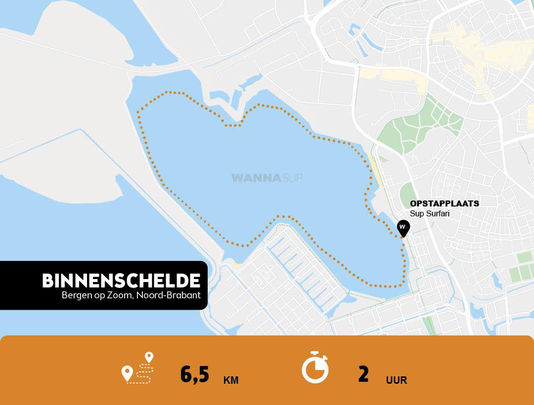 sup route Bergen op Zoom, Binnenschelde - Noord-Brabant - WANNAsup