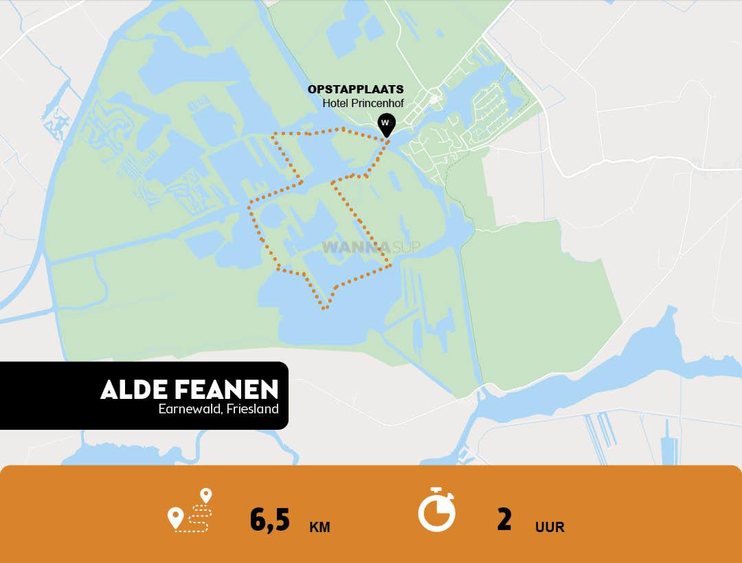 Sup route Earnewald - de Alde Feanen - Friesland - WANNAsup