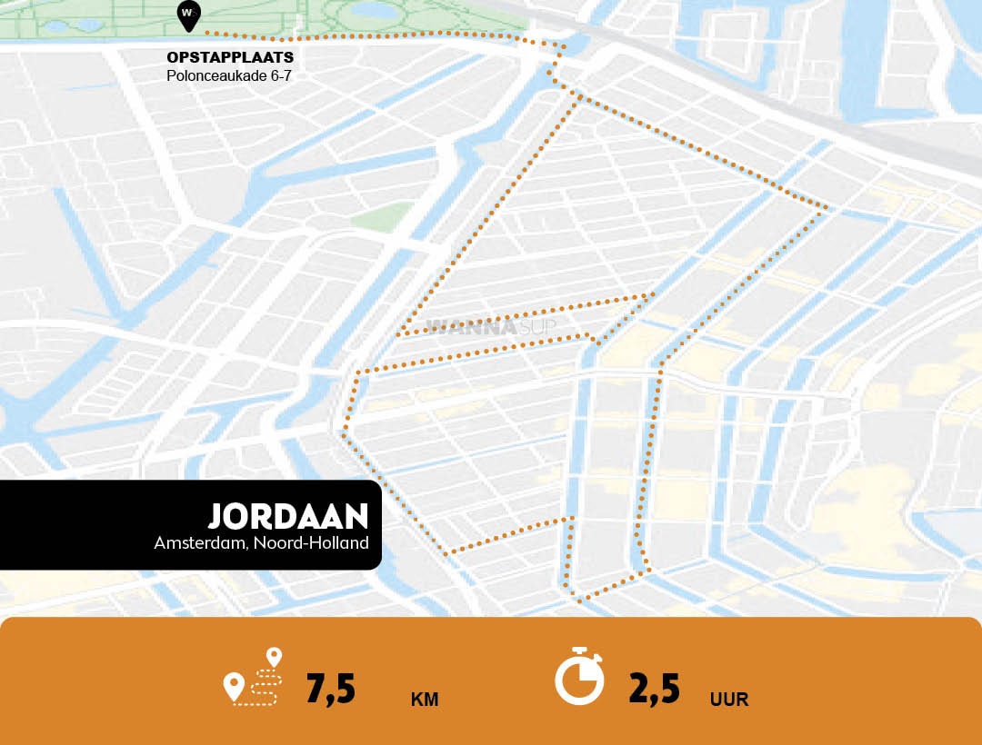 Sup route Amsterdam - De Jordaan - WANNAsup