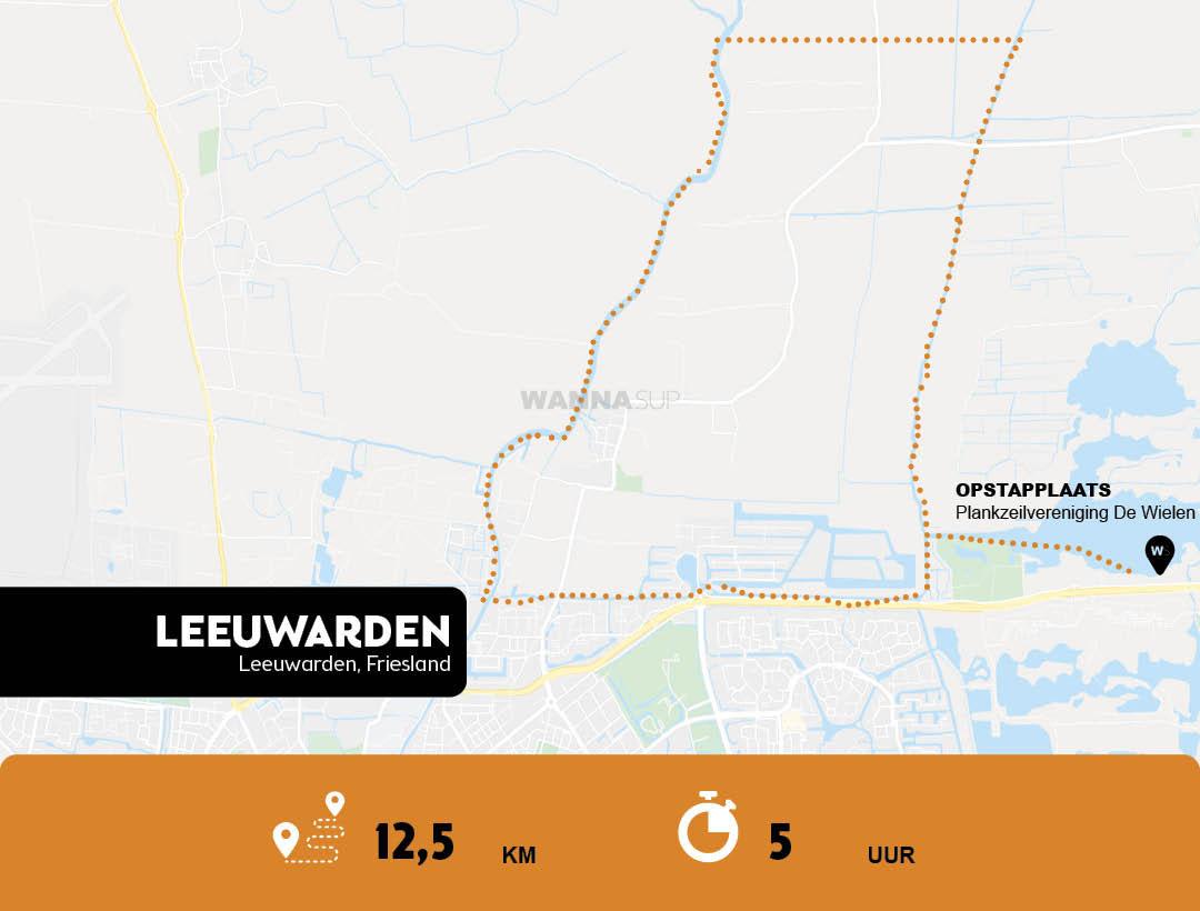 Sup route Leeuwarden - Friesland - WANNAsup