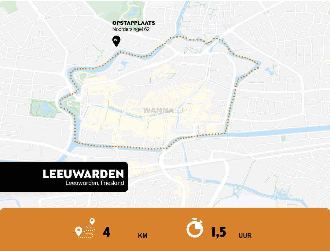 Sup route Leeuwarden Centrum - Friesland - WANNAsup