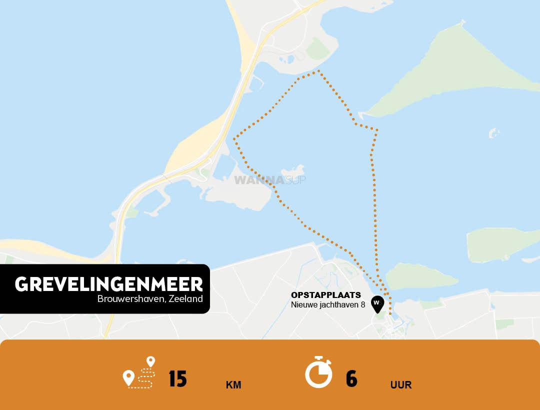 Sup route Grevelingenmeer te Brouwershaven - Zeeland