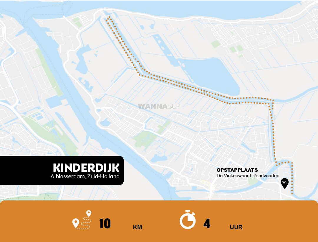 Sup route Alblasserdam, Kinderdijk - Zuid-Holland - WANNAsup