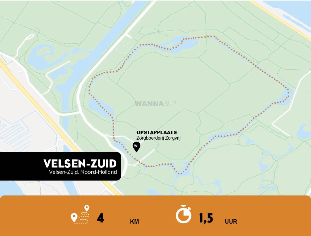 Sup route Velsen,Zuid, Spaarnwoude - Noord-Holland - WANNAsup