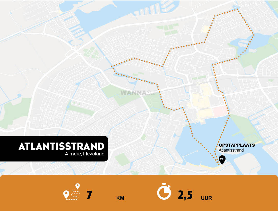 Sup route Almere - Atlantisstrand - Flevoland - WANNAsup