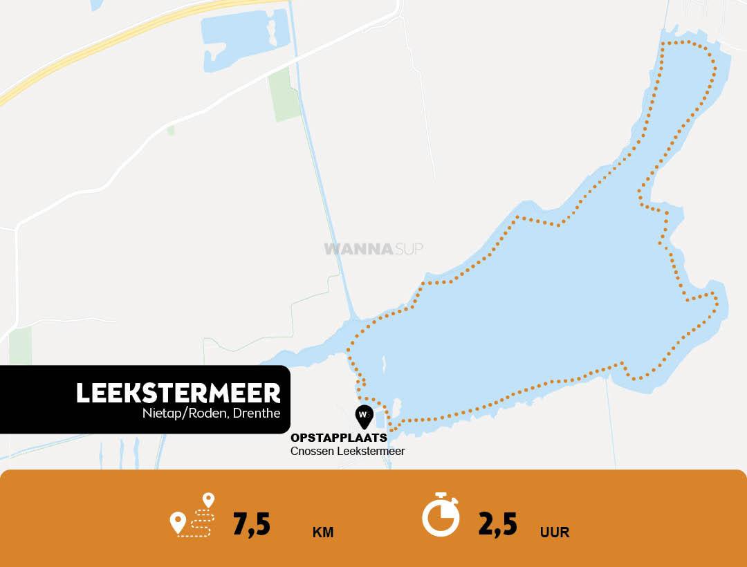 Sup route Leekstermeer - Nietap-Roden - Drenthe - WANNAsup