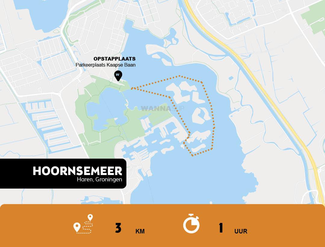 Sup route Hoornsemeer - Haren - Groningen - WANNAsup
