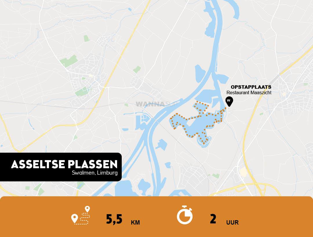 Sup route Asseltse Plassen - Swalmen - Limburg