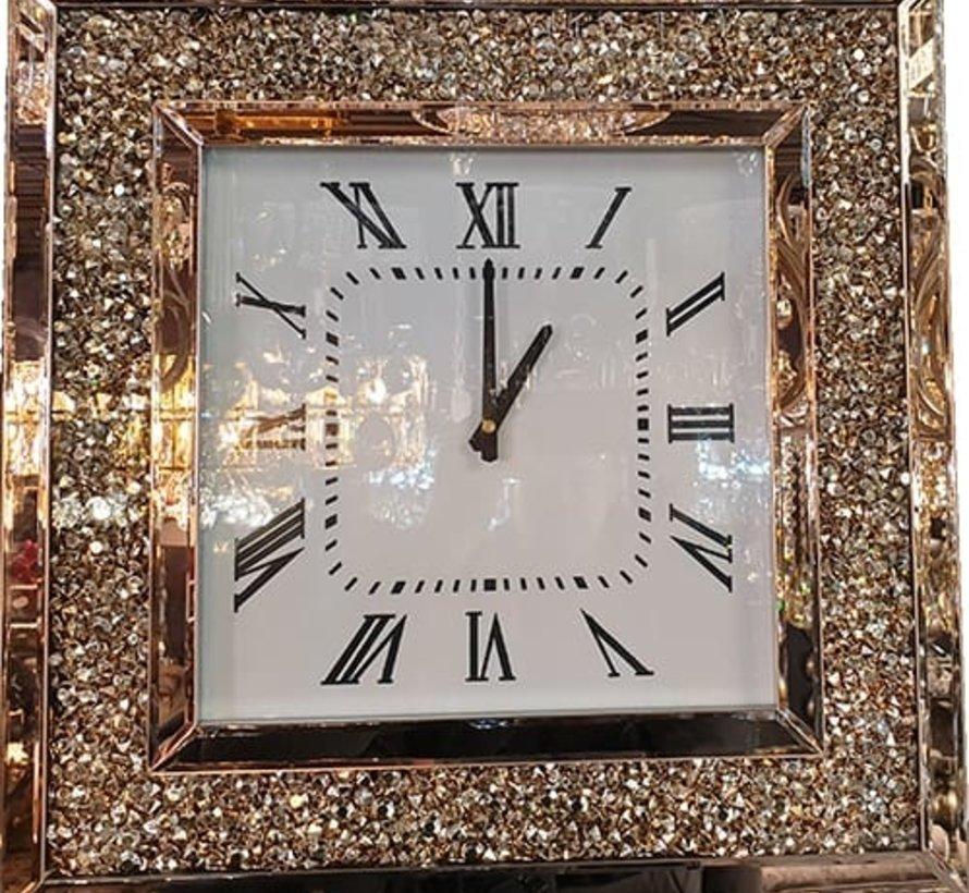 Prachtige Vierkante Klok Erik Kuster Style in Goud/Brons