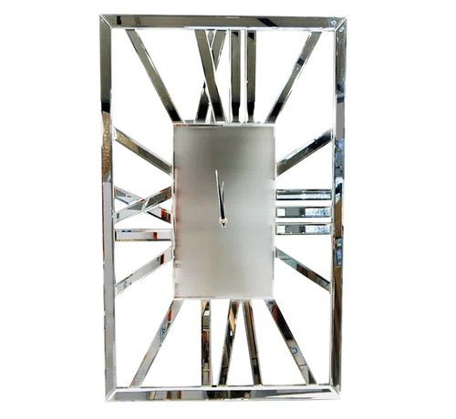 Erik Kuster Style Rechthoekige Zilvere Klok