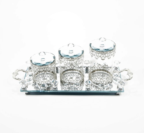 Erik Kuster Style Dienblad met chique potjes zeer mooie afwerking Zilver kleur en Glas