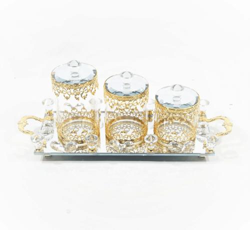 Erik Kuster Style Dienblad met chique potjes  zeer mooie afwerking Goud kleur en Glas