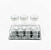 Erik Kuster Style Dienblad Royal met  chique potjes  zeer mooie afwerking Zilver kleur en Glas
