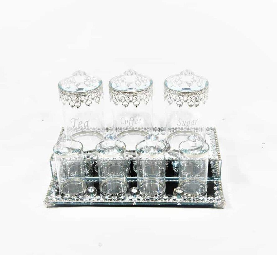 Dienblad Royal met  chique potjes zeer mooie afwerking Zilver kleur en Glas