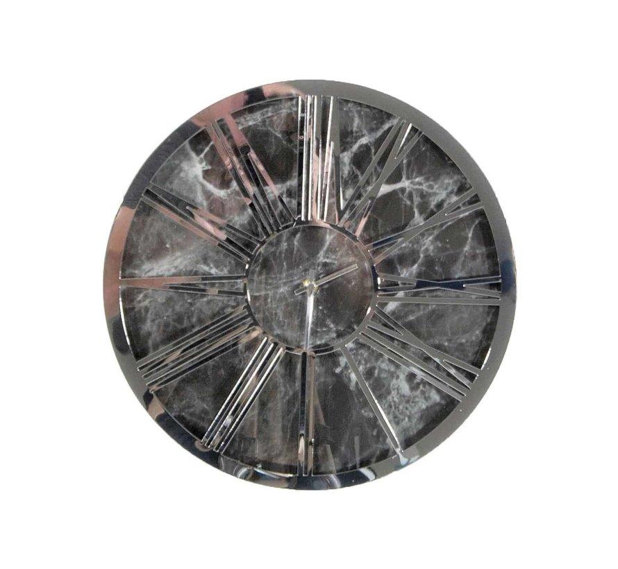 Ronde klok PL16 Zilver-Black