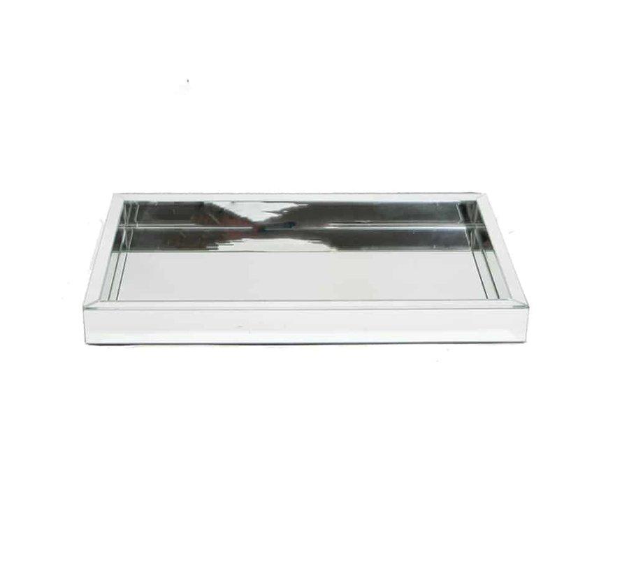 Dienblad 30 x 50 cm Spiegelglas in de Eric Kuster Style 5 kleuren - Zilver