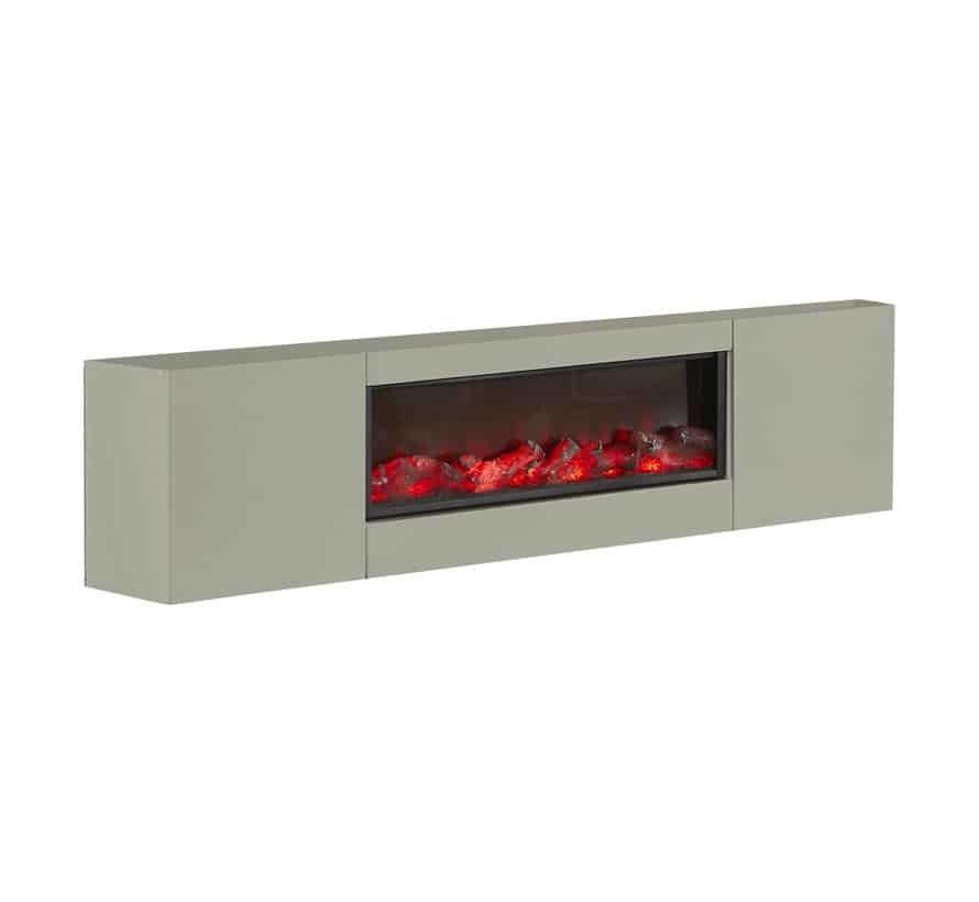 TV-meubel Blocci met/zonder ingebouwde sfeerhaard Taupe