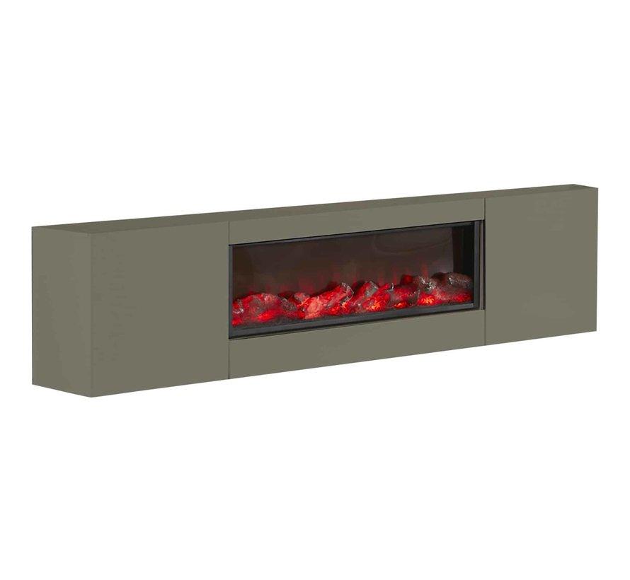 TV-meubel met ingebouwde sfeerhaard - Grijs