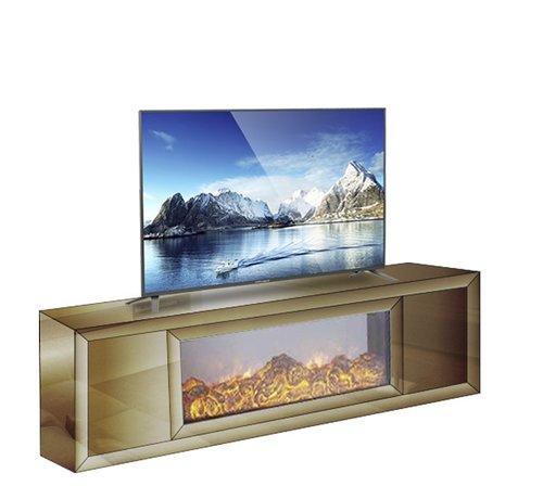 Hamava  TV-Meubel Spiegelglas - Brons incl. elektrische sfeerhaard