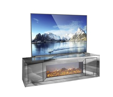 Hamava  TV-Meubel Spiegelglas - Antraciet incl. elektrische sfeerhaard