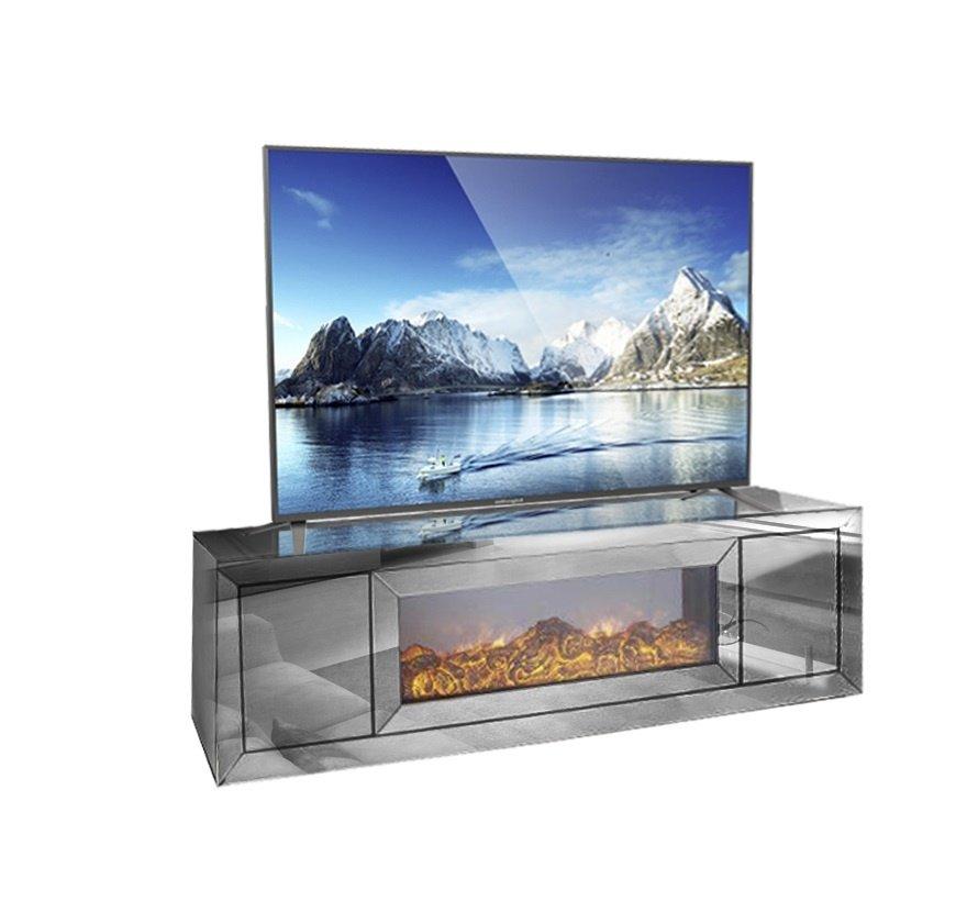 TV-Meubel Spiegelglas - Antraciet incl. elektrische sfeerhaard