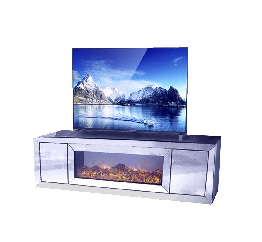 TV-Meubel Spiegelglas - Zilver incl. elektrische sfeerhaard