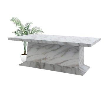 Hamava  Eettafel Spiegelglas Marmer - Wit