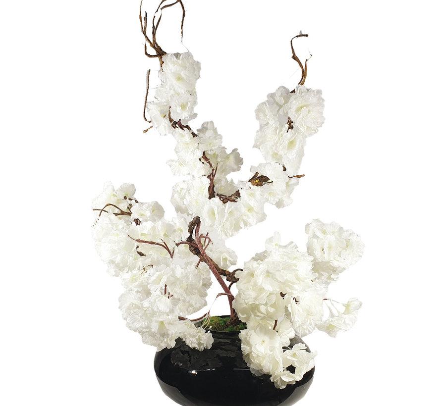 Bloemen - White Blossom Black Glas