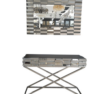 Erik Kuster Style Dressoir en Spiegel set - Zilver of Brons (120x80 cm)
