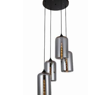 Erik Kuster Style Hanglamp - Quattro Fists (Smoking Glass)
