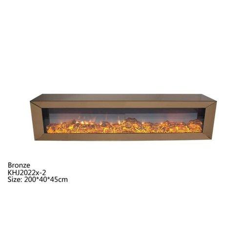 L&M Tv-meubel Spiegelglas - Brons glas - incl. elektrische sfeerhaard