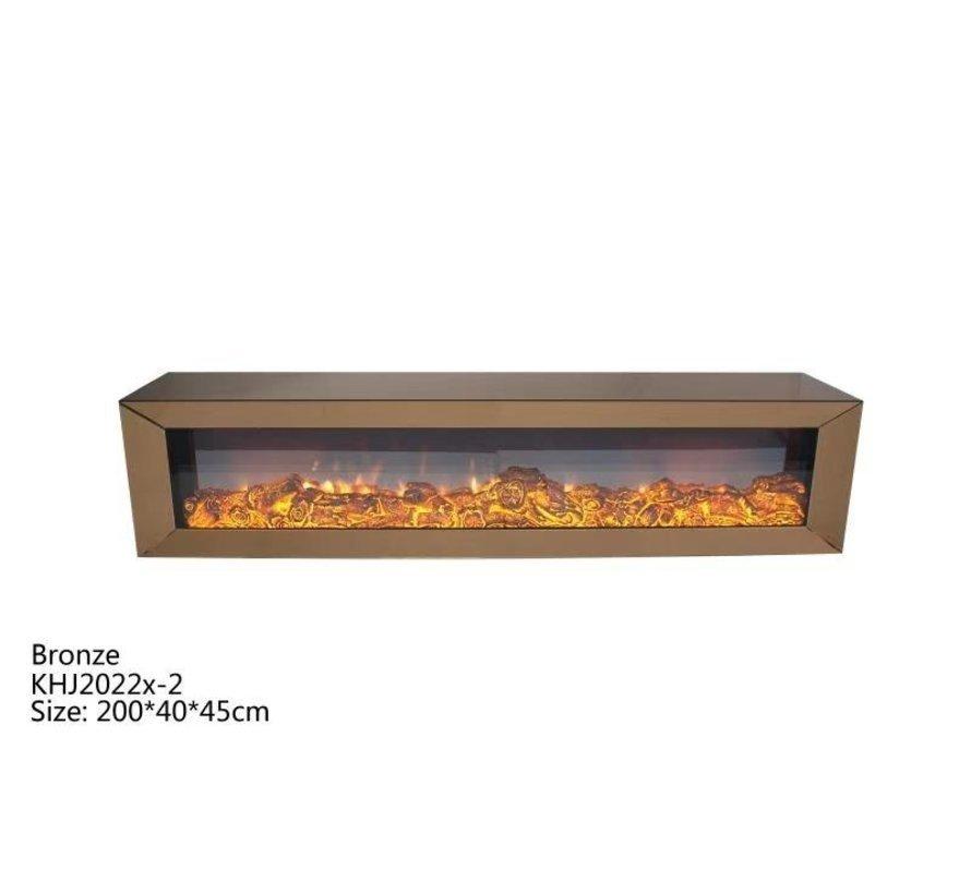 Tv-meubel Spiegelglas - Brons glas - incl. elektrische sfeerhaard