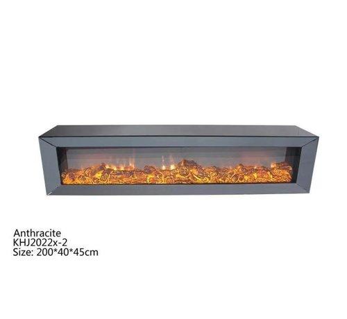 L&M Tv-meubel Spiegelglas - Antraciet glas - incl. elektrische sfeerhaard