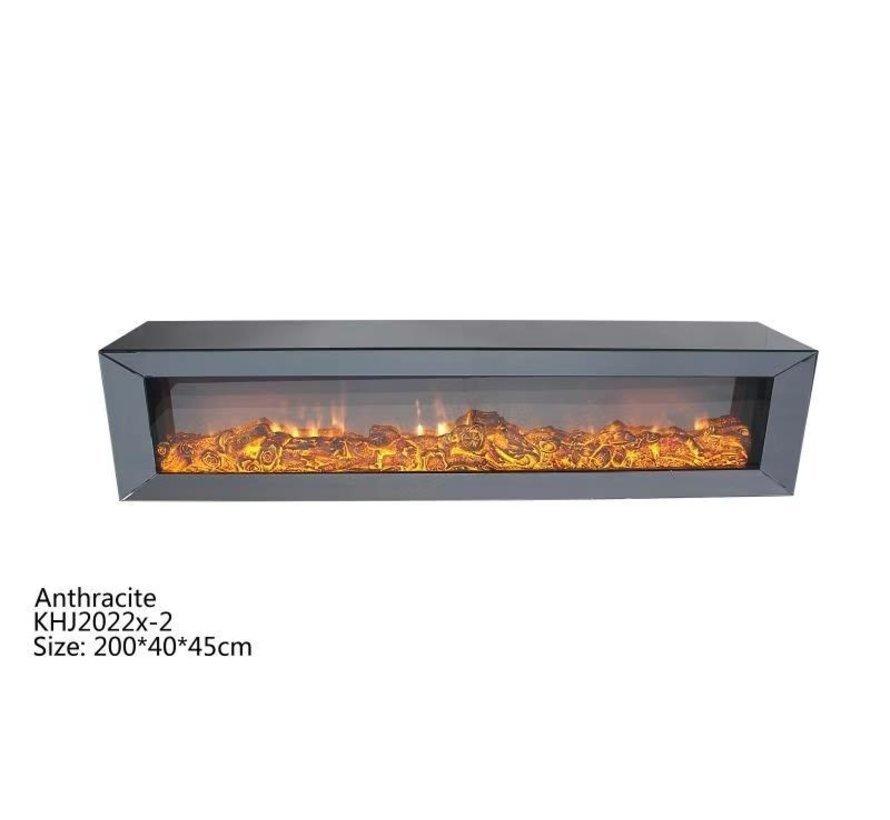 Tv-meubel Spiegelglas - Antraciet glas - incl. elektrische sfeerhaard
