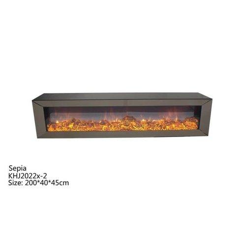 L&M Tv-meubel Spiegelglas - Sepia glas - incl. elektrische sfeerhaard