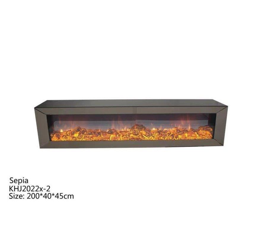 Tv-meubel Spiegelglas - Sepia glas - incl. elektrische sfeerhaard