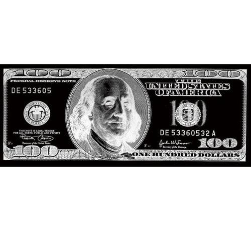 Teres Glasschilderij - 100 Dollar (Zilver)