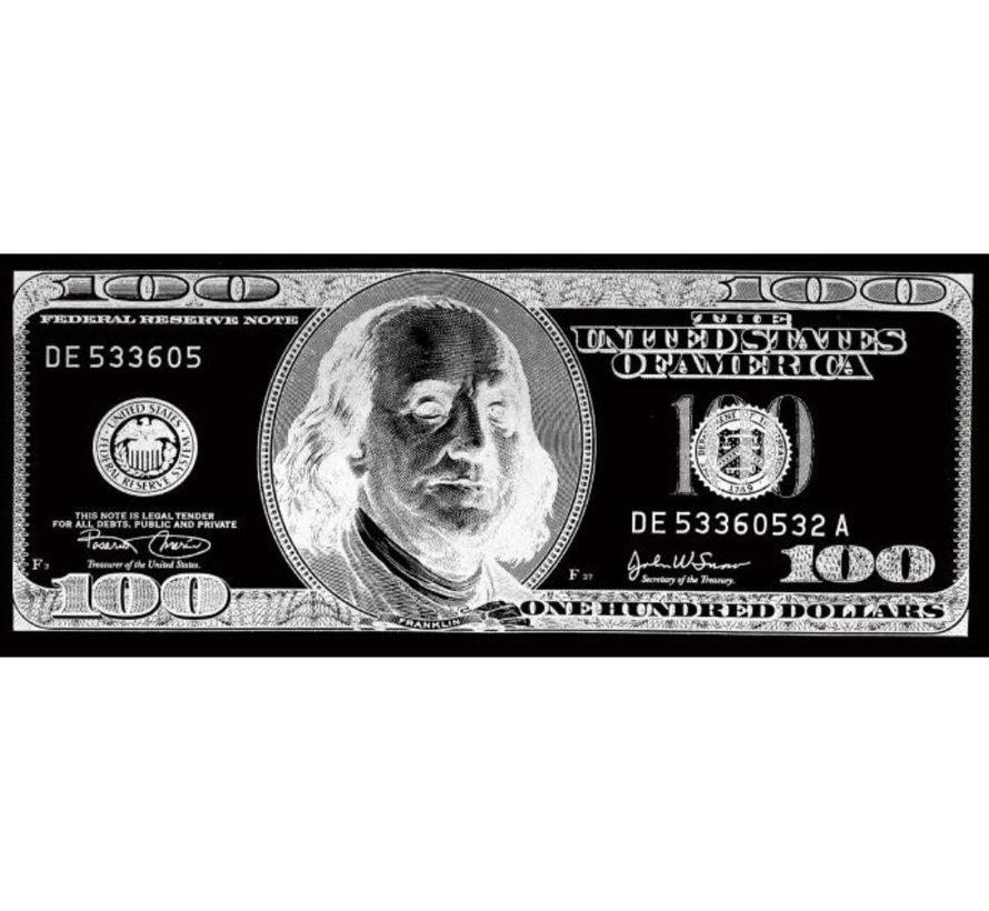 Glasschilderij - 100 Dollar (Zilver)