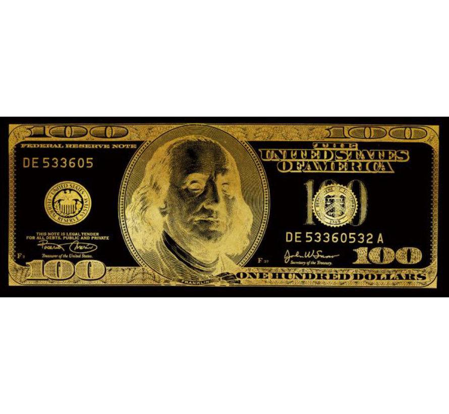 Glasschilderij - 100 Dollar (Goud)