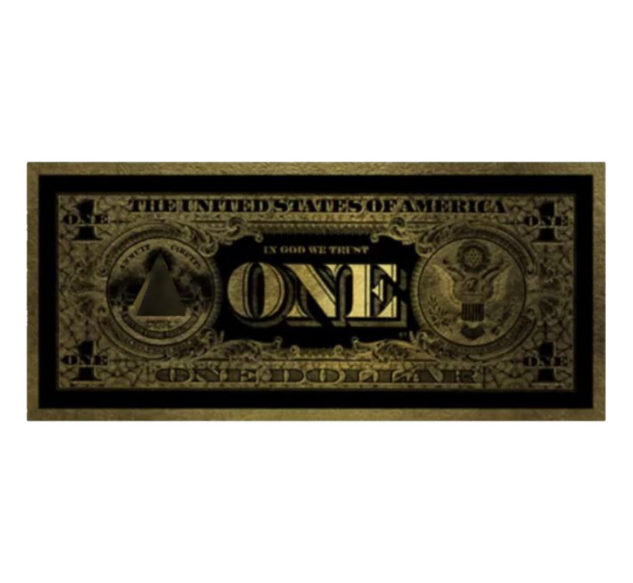 Glasschilderij - One Dollar (Goud)200x80cm