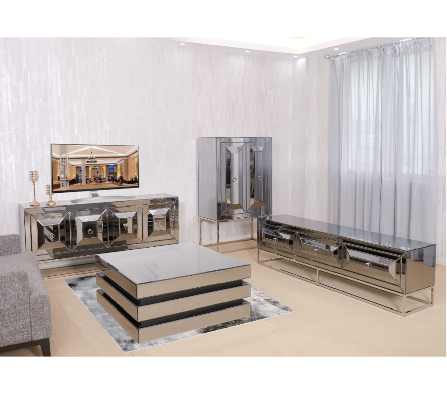 TV-meubel met elektrische sfeerhaard New York - Antraciet of Sepia - 180 x 55 x 45 cm