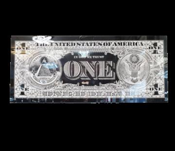 L&M One Dollar Zilver - Art Glasschilderij