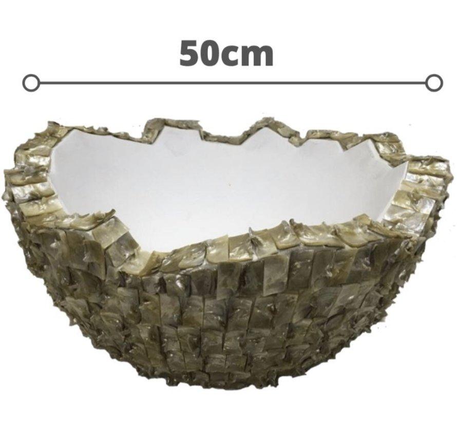 Schelpvaas Bowl 50 cm-Eric Kuster Style- Wit